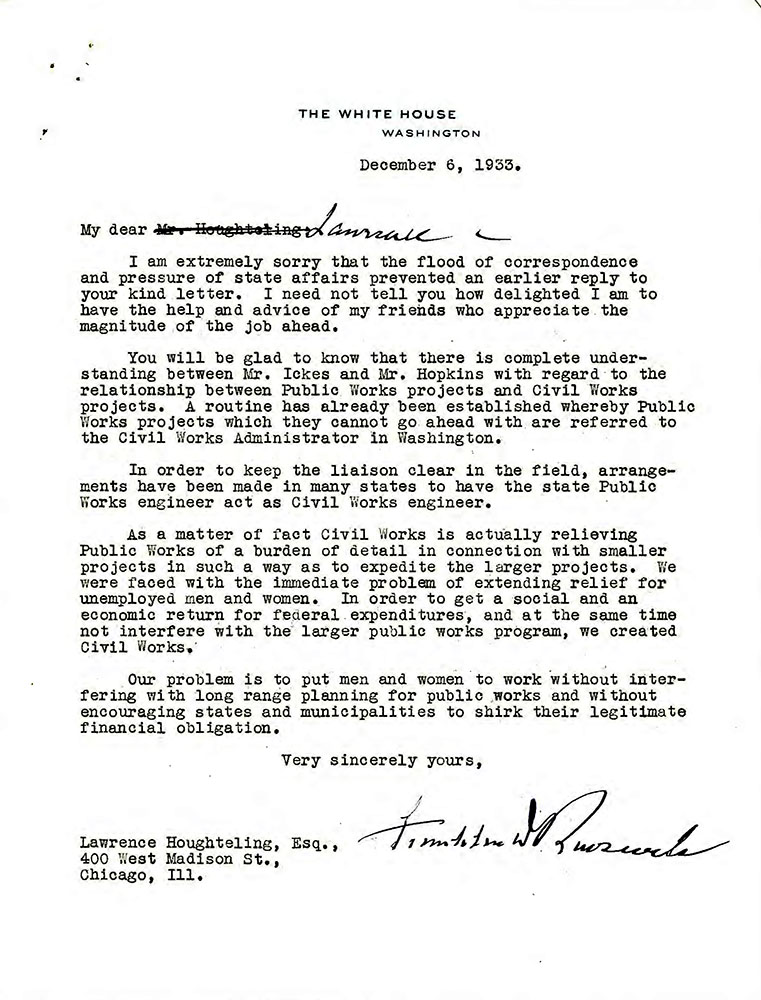 Letter, FDR to J. Houghteling