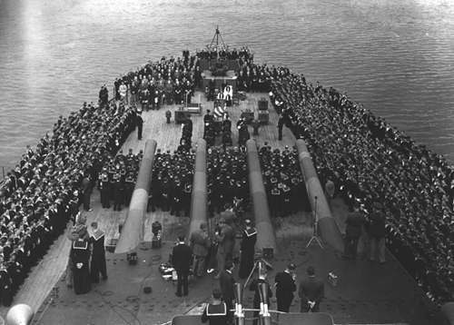 Sunday services aboard the British battleship, Prince of Wales. FDR and Winston Churchill sign the Atlantic Charter aboard this trip in 1941.