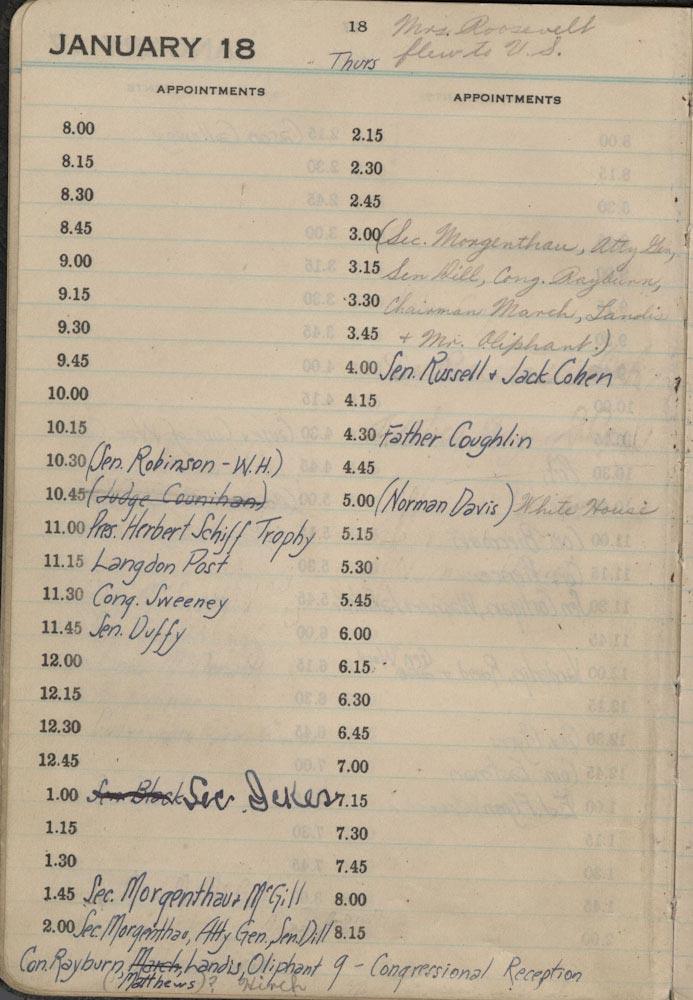 January 18 1934 - Stenographers Diary