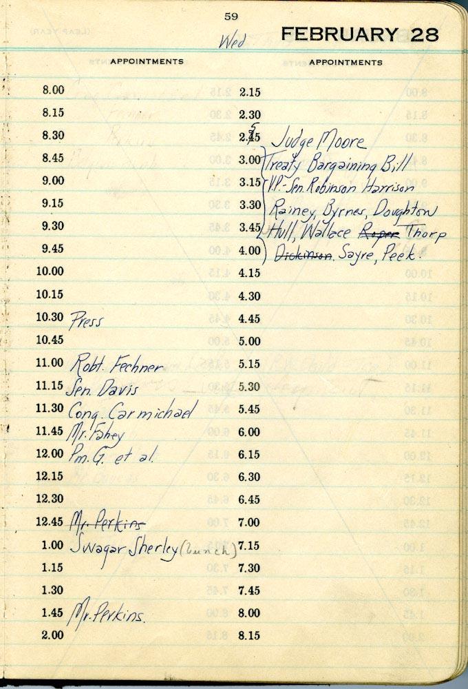 February 28 1934 - Stenographers Diary