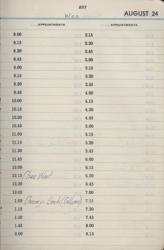 August 24 1938 - Stenographers Diary
