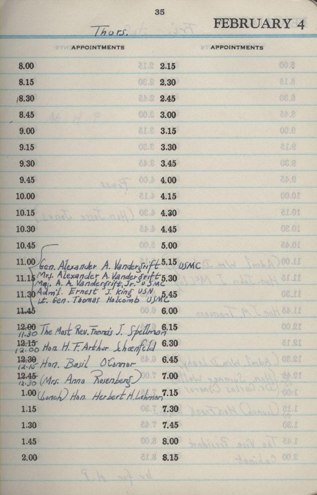 February 4 1943 - Stenographers Diary