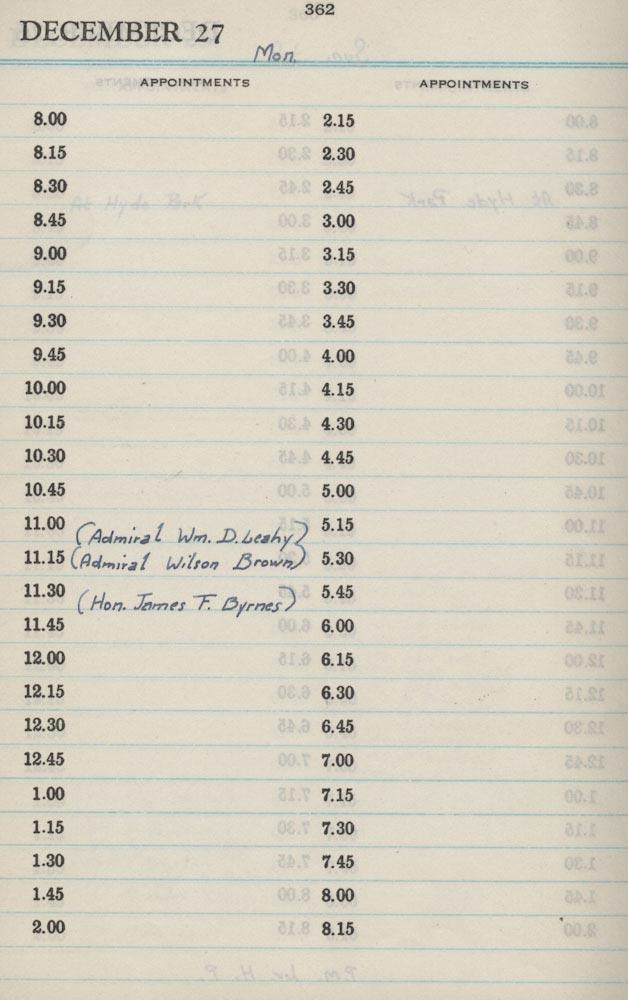 December 27 1943 - Stenographers Diary