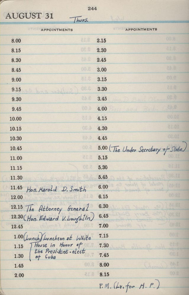 August 31 1944 - Stenographers Diary