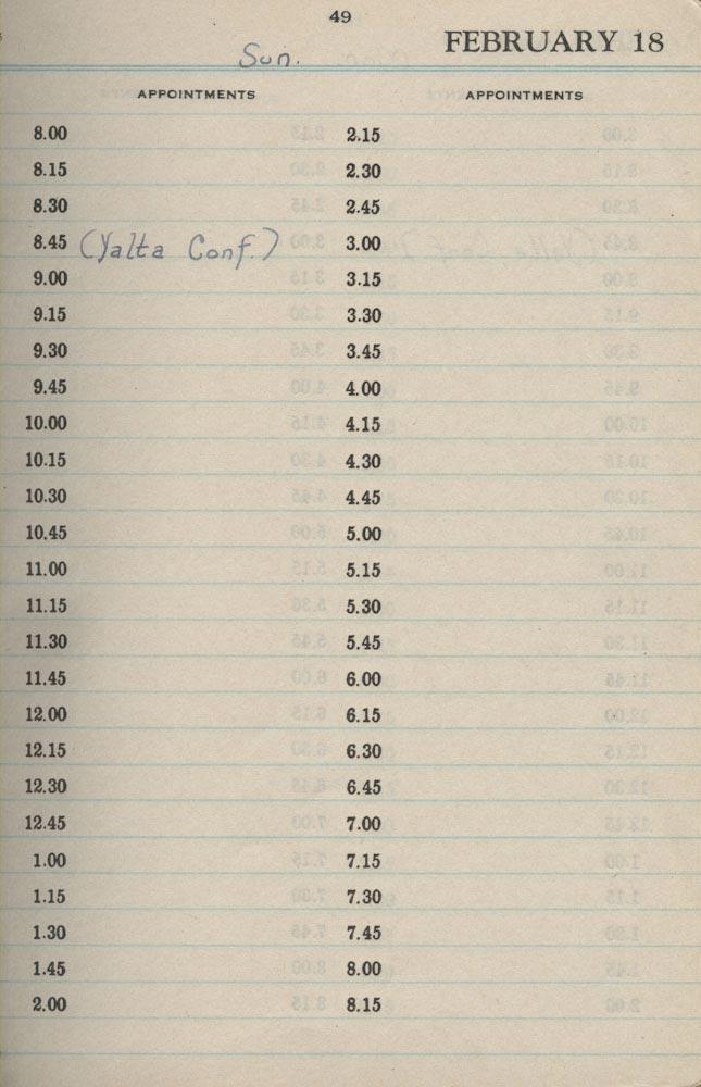 February 18 1945 - Stenographers Diary