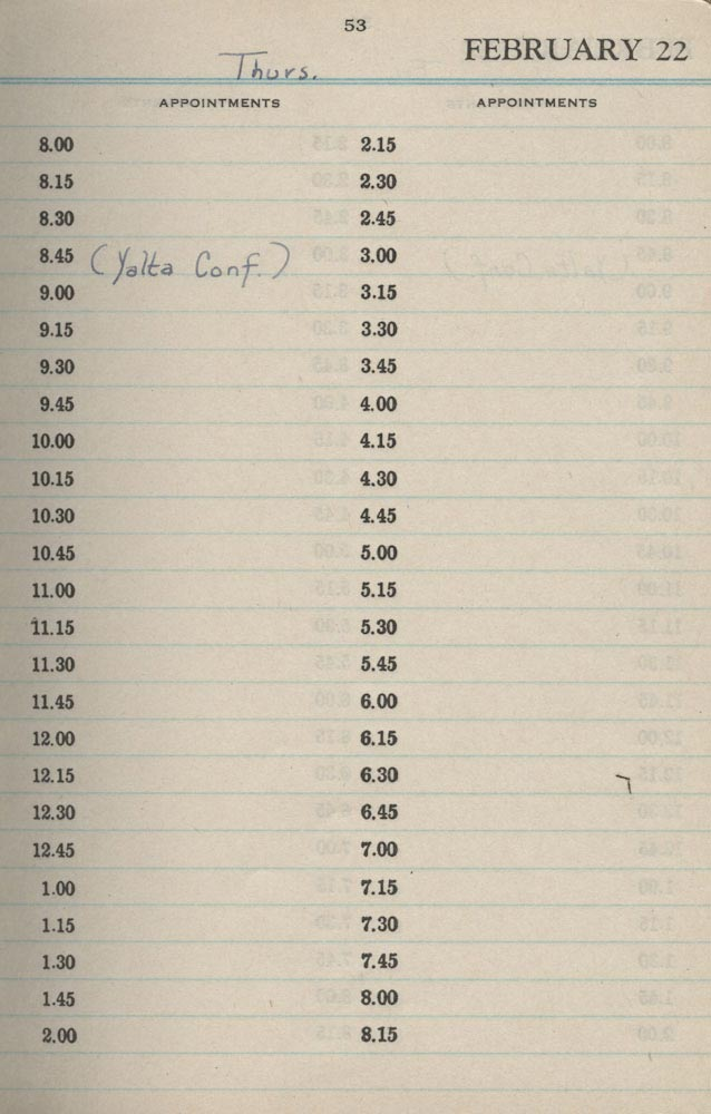 February 22 1945 - Stenographers Diary