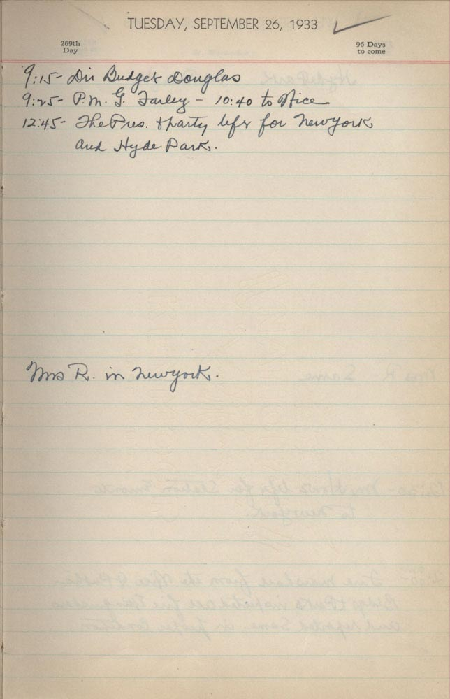 September 26 1933 - Ushers Log