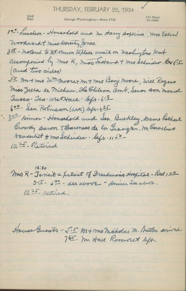 February 22 1934 - Ushers Log