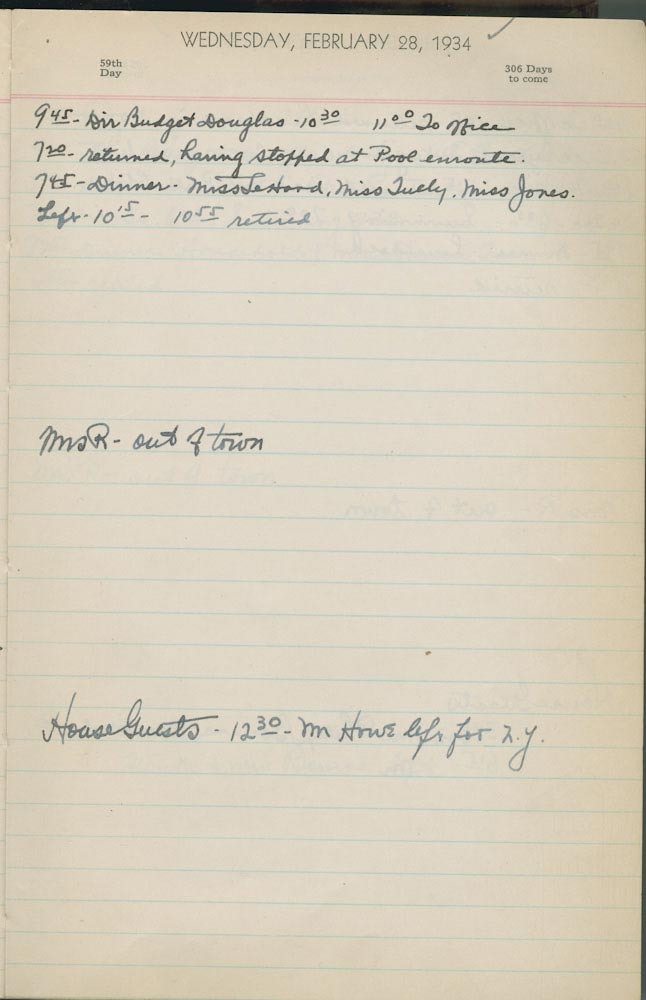 February 28 1934 - Ushers Log