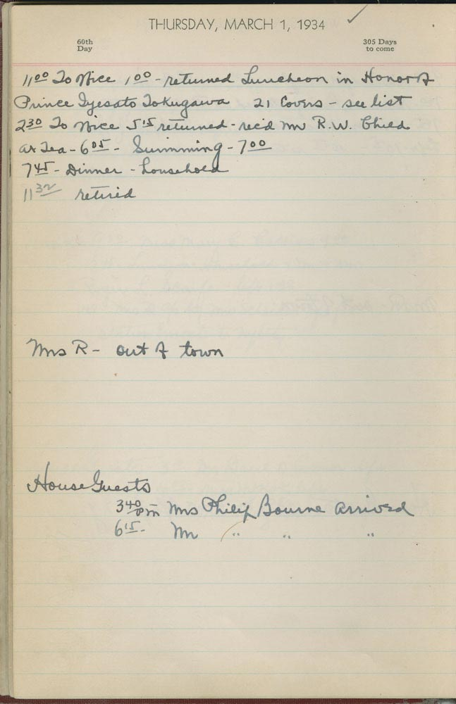 March 1 1934 - Ushers Log