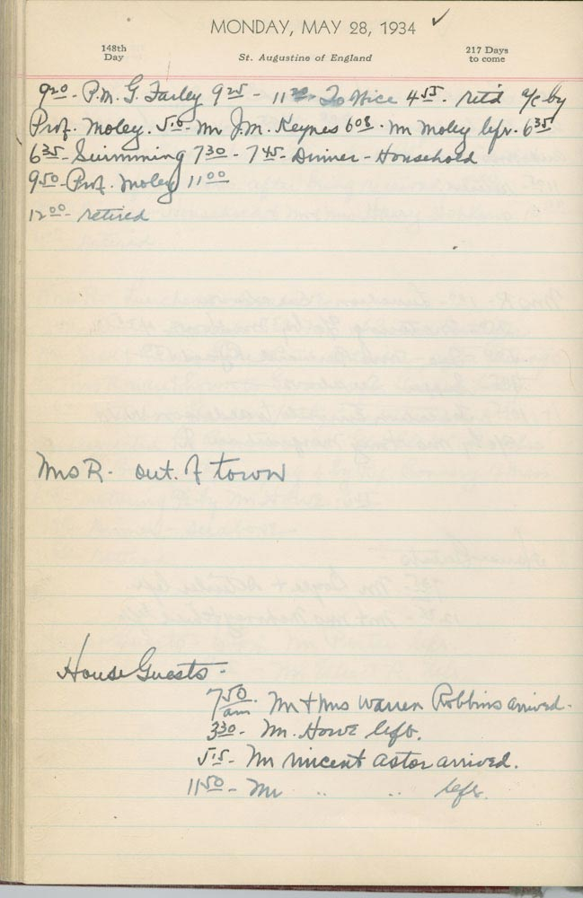 May 28 1934 - Ushers Log