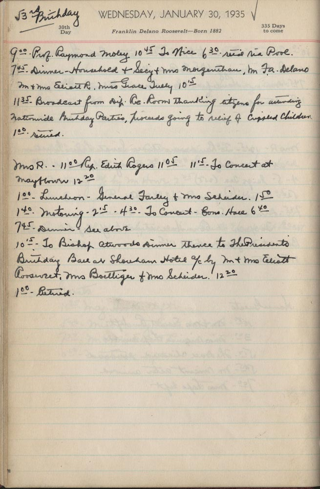 January 30 1935 - Ushers Log