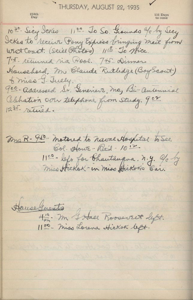August 22 1935 - Ushers Log