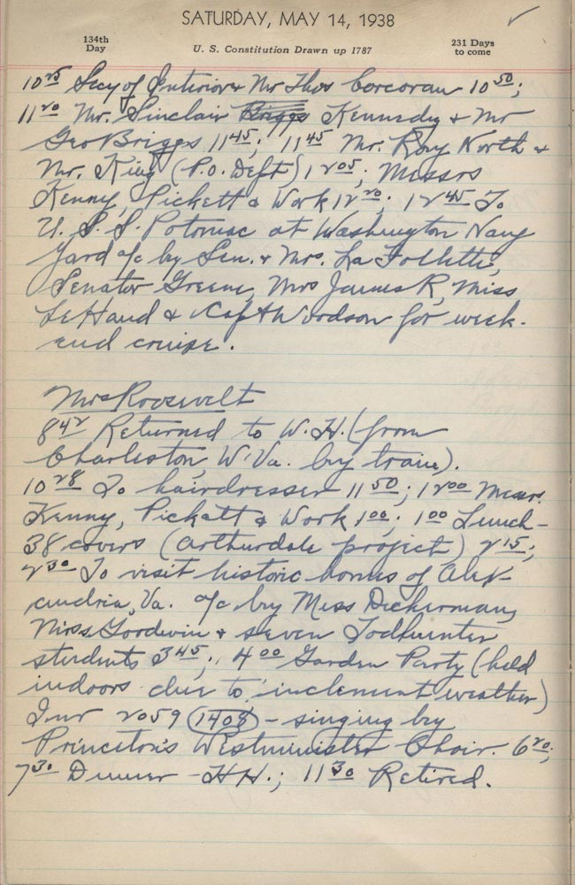 May 14 1938 - Ushers Log