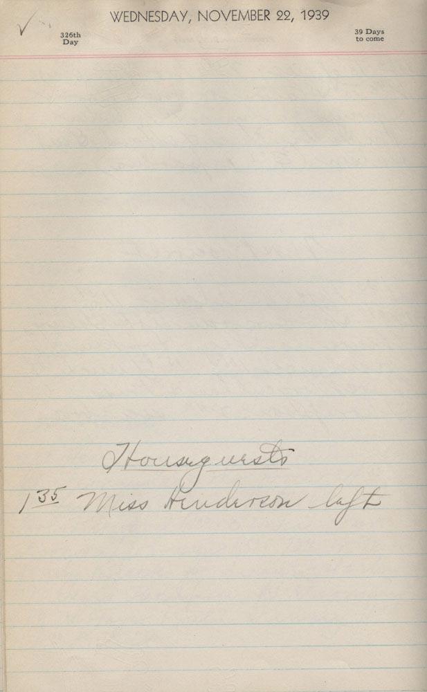 November 22 1939 - Ushers Log