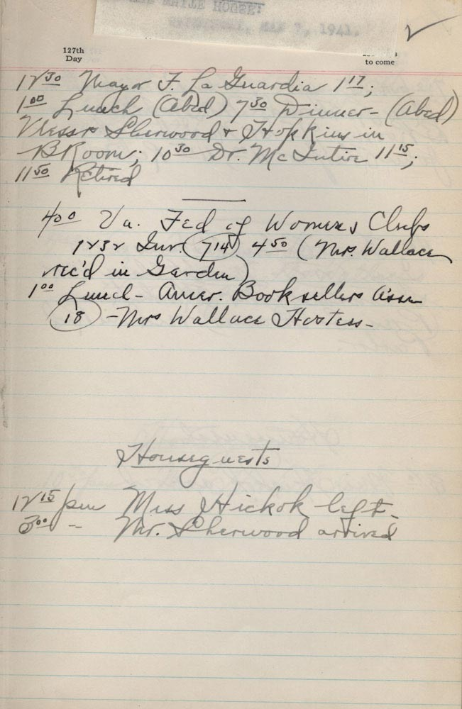 May 7 1941 - Ushers Log