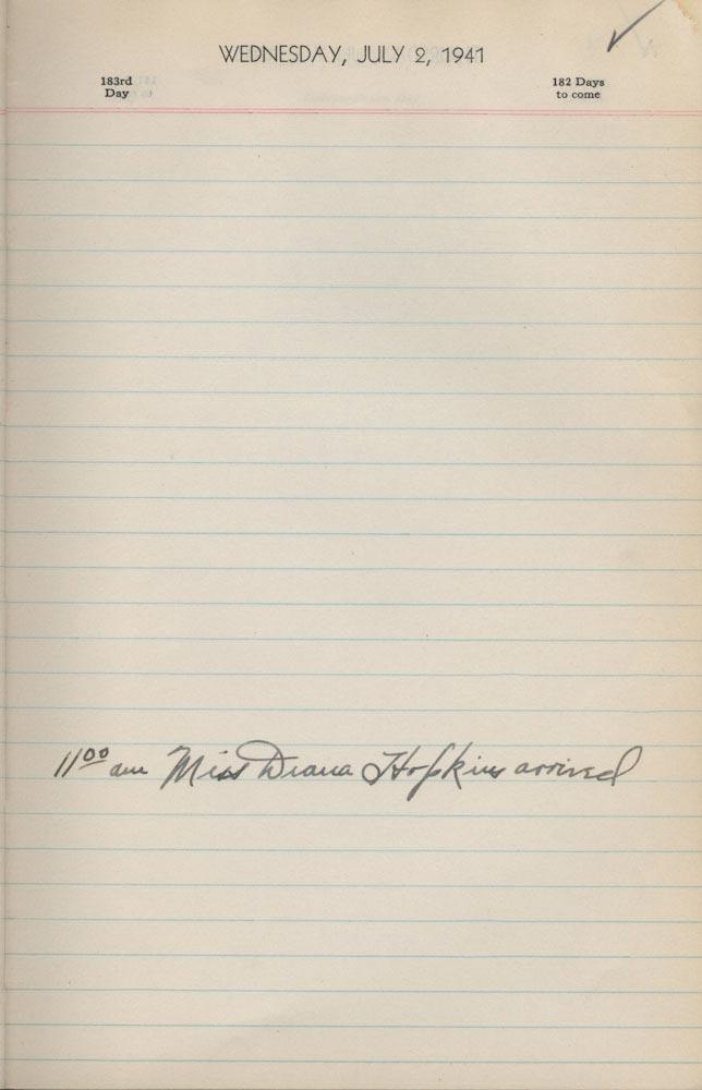 July 2 1941 - Ushers Log