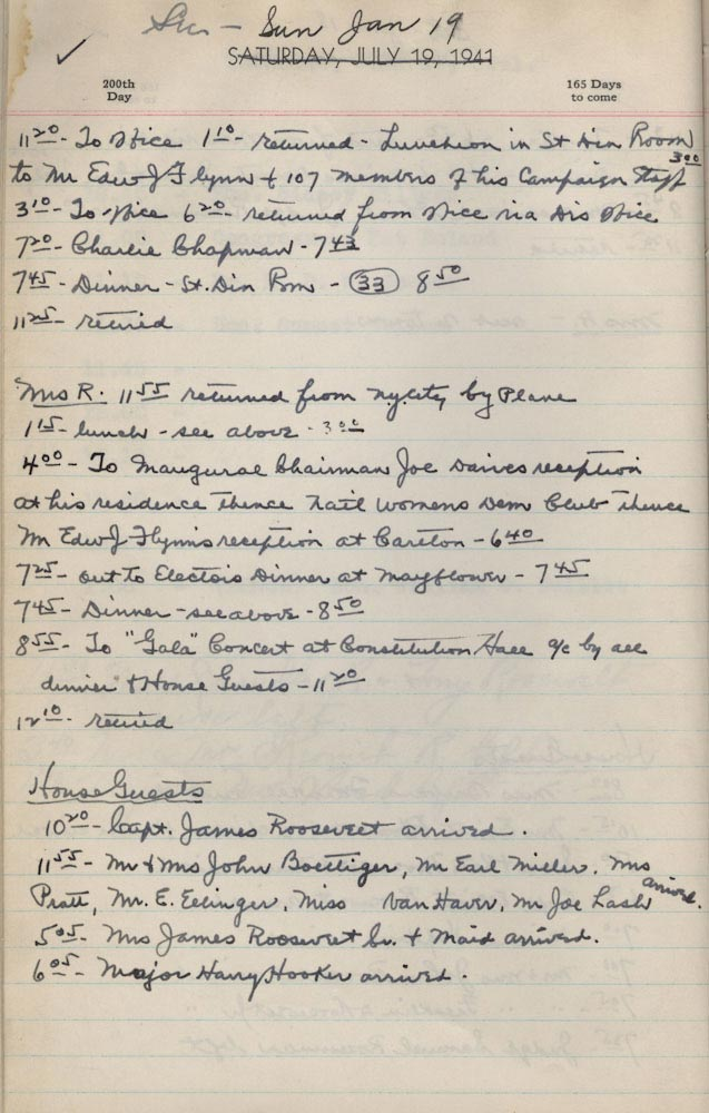July 19 1941 - Ushers Log
