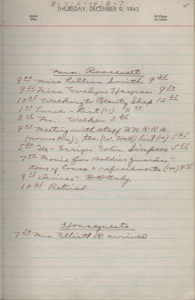 December 9 1943 - Ushers Log