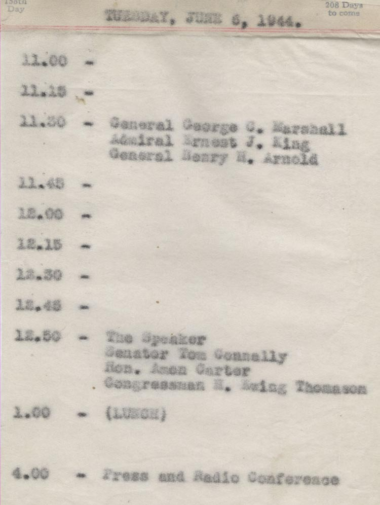 June 6 1944 - Ushers Log