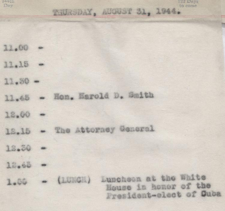 August 31 1944 - Ushers Log