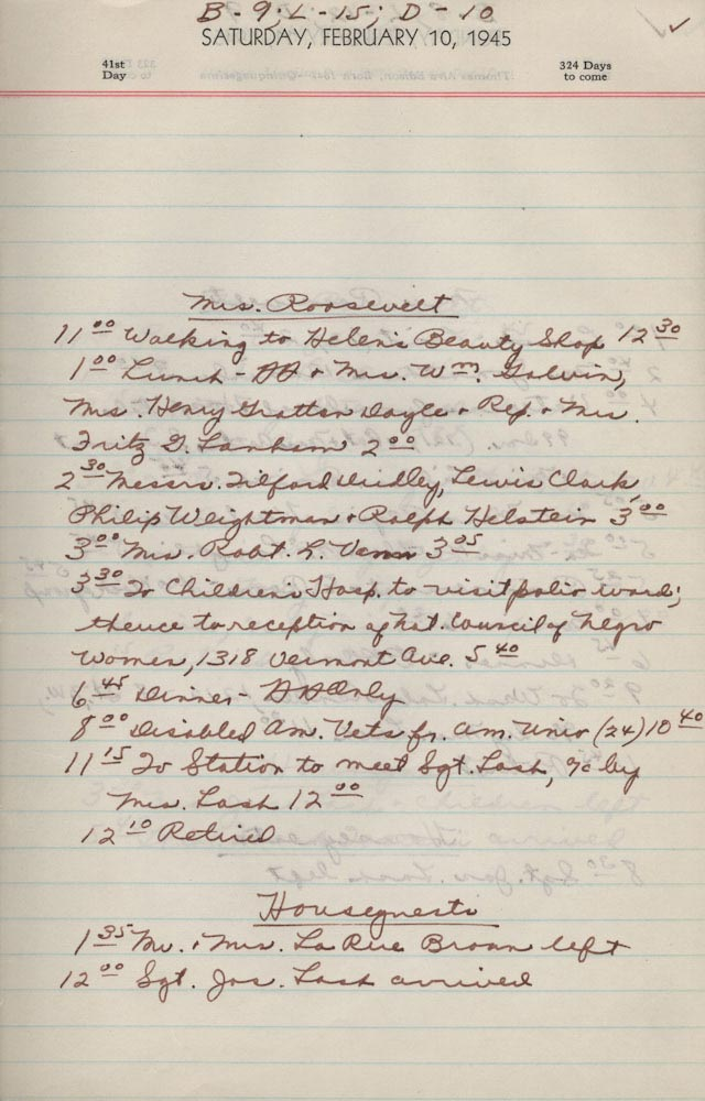 February 10 1945 - Ushers Log