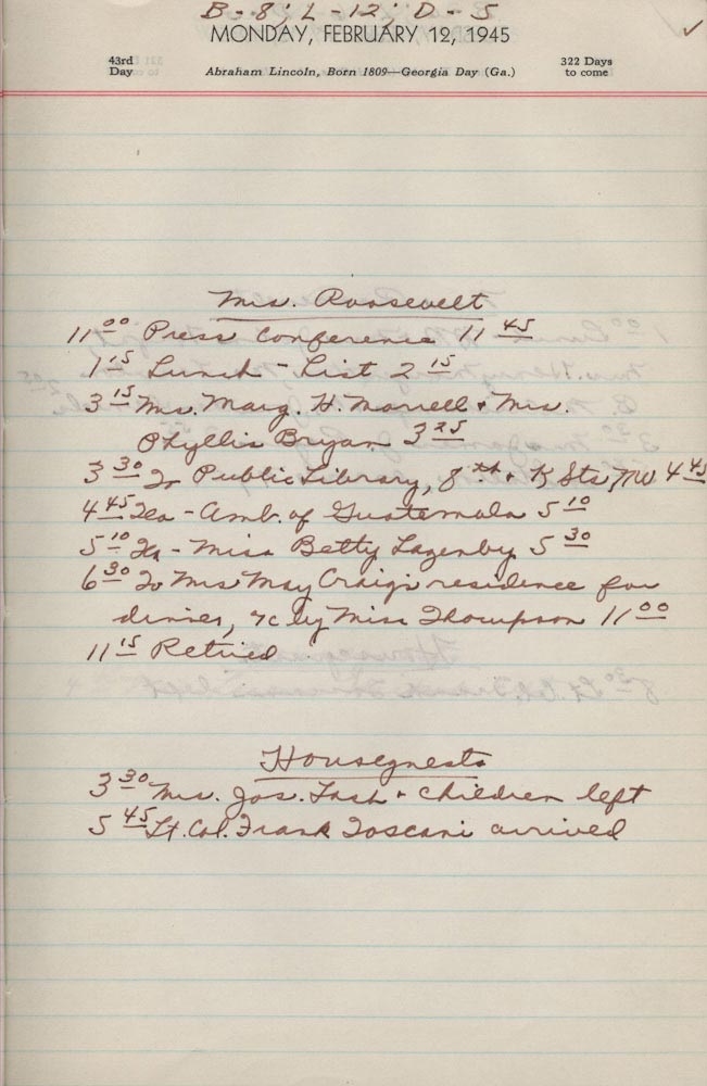 February 12 1945 - Ushers Log