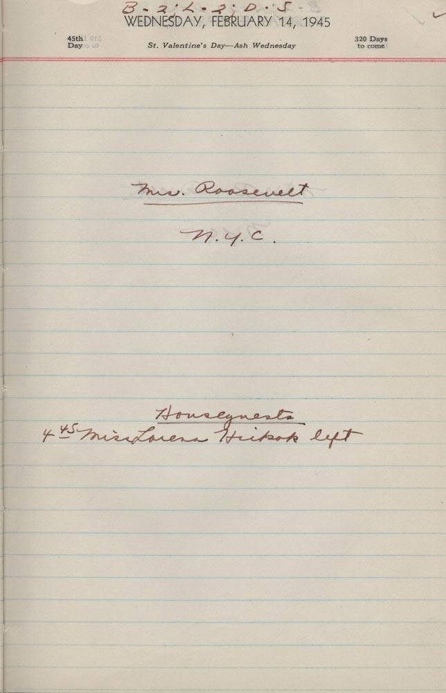 February 14 1945 - Ushers Log