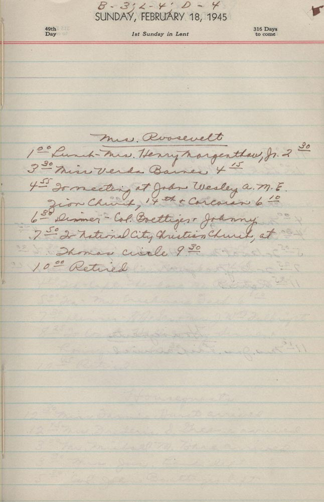 February 18 1945 - Ushers Log